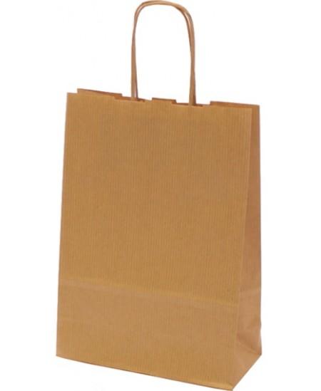 Dovanų maišelis linijuotas, 25x18x8 cm, rudas