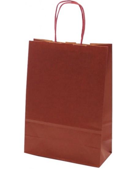 Dovanų maišelis linijuotas, 25x18x8 cm, vyšninis