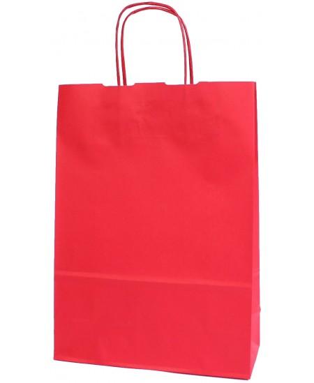 Dovanų maišelis linijuotas, 32x23x10 cm, raudonas