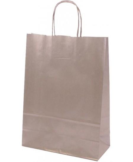 Dovanų maišelis linijuotas, 32x23x10 cm, sidabrinis