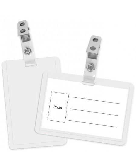 Vardinės kortelės dėklas su plastikiniu spaustuku, vertikalus, 92 x 64 mm, skaidrus