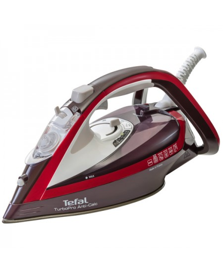 TEFAL Turbo Pro Iron FV5635E0 Bordo, 2600 W, Steam iron, Continuous steam 50 g/min, Steam boost performance 200 g/min, Anti-drip