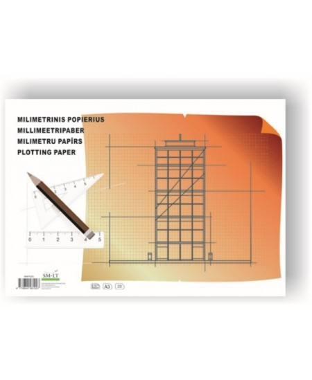 Milimetrinis popierius, A2, 20 lapų
