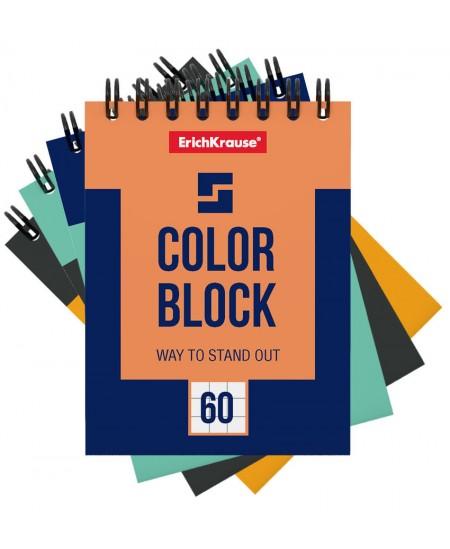 Bloknotas ERICH KRAUSE Color Block, А7, langeliais, su spirale viršuje