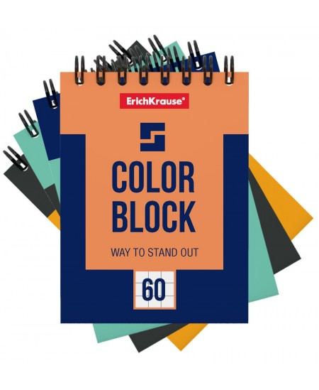 Bloknotas ERICH KRAUSE Color Block, А6, langeliais, su spirale viršuje