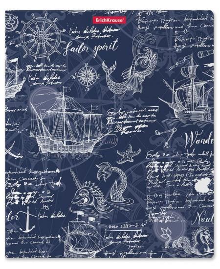 Sąsiuvinis ERICH KRAUSE Old map, А5+, mėlynos spalvos, 48 lapai, langeliais