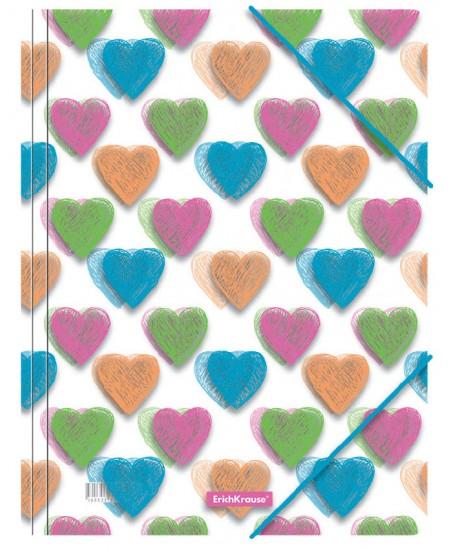 Aplankas su gumele ERICH KRAUSE Neon Hearts, A4
