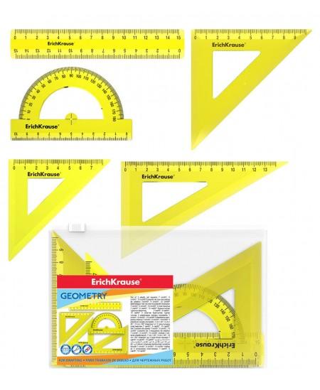 Liniuočių rinkinys ERICH KRAUSE Neon, geltonos spalvos