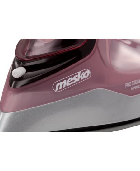 Mesko Iron MS 5028 Steam Iron, 2600 W, Continuous steam 35 g/min, Steam boost performance 60 g/min, Pink/Grey