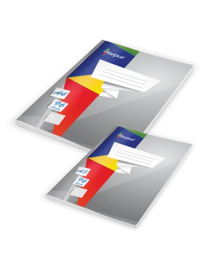 Kontorinis sąsiuvinis FORPUS, A4, 96 lapai, langeliais, minkštas viršelis