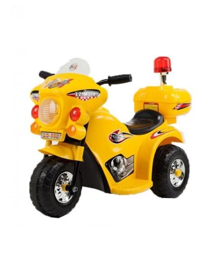 Vaikiškas motociklas su šoniniais ratukais, geltonas