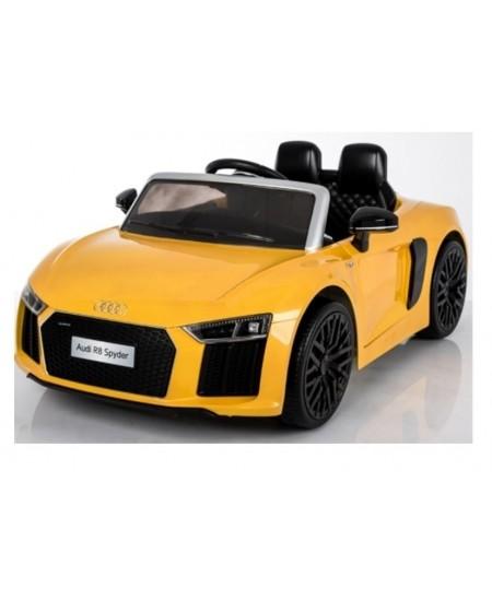 Naujausias licencijuotas geltonas elektromobilis AUDI R8