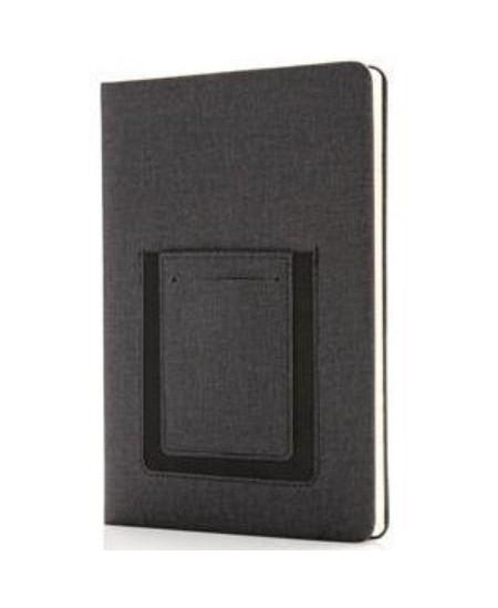 Užrašų knygelė su dėklu telefonui ir kortelei, A5, linija, pilka