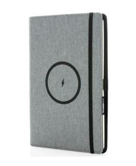 Užrašų knygutė su belaidžio įkrovimo baterija, A5, linija, pilka