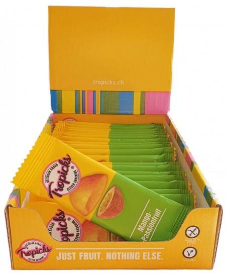 Natūralus Džiovintų mangų ir pasiflorų batonėlis be cukraus TROPICKS, 20 g
