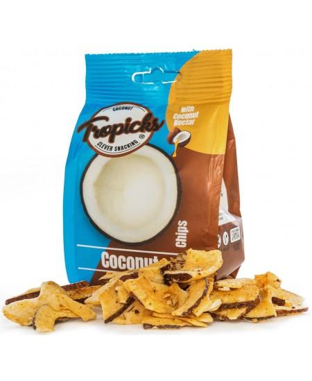 Natūralūs džiovinti kokosų traškučiai su kokoso nektaru be cukraus TROPICKS, 100 g