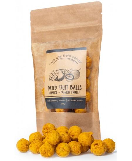 Natūralūs džiovintų mangų ir pasiflorų kamuoliukai be cukraus WITH LOVE FROM NATURE, 100 g