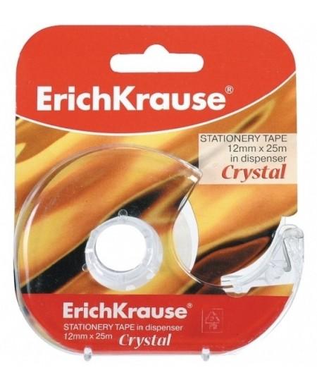 Itin skaidri lipni juostelė su laikikliu ERICH KRAUSE Crystal, 12 mm x 25 m