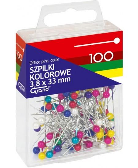 Smeigtukai - adatėlės , 100 vnt., įvairių spalvų
