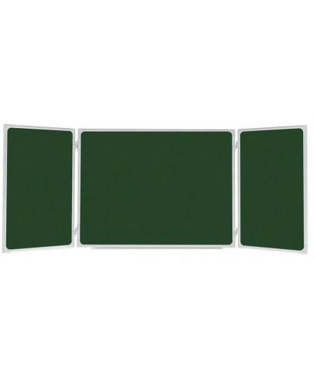 Kreidinė magnetinė, trijų dalių, pakabinama lenta 2x3, 200x100/300 cm, aliuminio rėmas, žalia