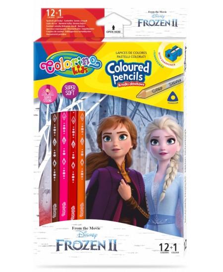 """Spalvoti pieštukai COLORINO Disney \""""Ledo šalis\"""", tribriauniai, su drožtuku, 12 spalvų"""