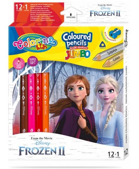 """Spalvoti pieštukai COLORINO Disney \""""Ledo šalis\"""" JUMBO, tribriauniai, su drožtuku, 12 spalvų"""