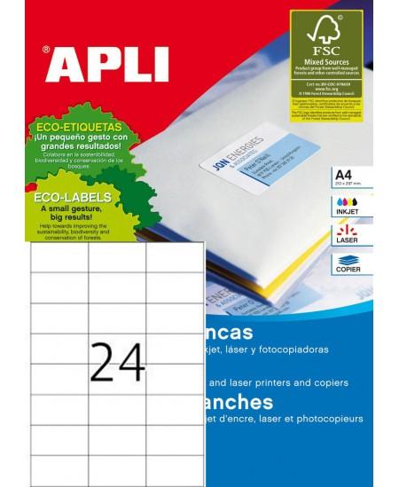 Etiketiniai lipdukai APLI 70x37 mm, A4, 24 lipdukai lape, 25 lapai