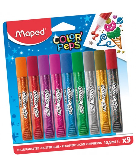 Blizgūs klijai MAPED Color Peps, 9 vnt.