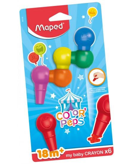 Kreidelės MAPED Color Peps, mažyliams, 6 spalvos