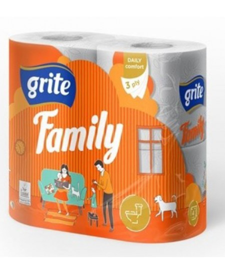 Buitinis tualetinis popierius GRITE Family, 4 ritiniai