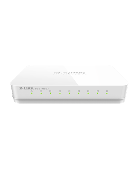 D-Link Switch DGS-1008A/D Unmanaged, Desktop, 1 Gbps (RJ-45) ports quantity 8, Power supply type Single