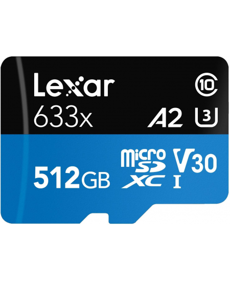 Lexar High-Performance 633x UHS-I  MicroSDXC, 512 GB, Flash memory class 10, Black/Blue, Class: A2 V30 U3, 70 MB/s, 100 MB/s