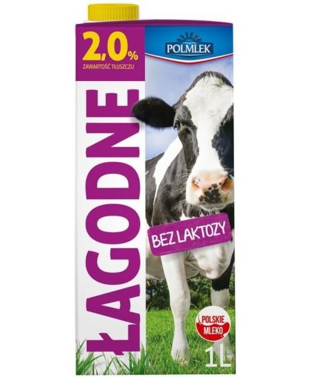 Pienas POLMLEK, 2% riebumo, be laktozės, 1 l