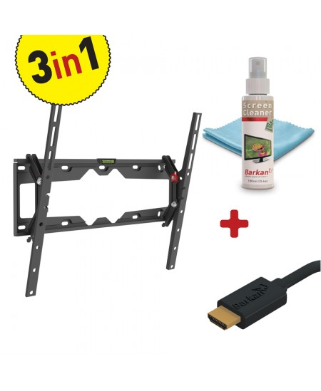 """Barkan 3 in 1 Combo: Flat /Curved TV Wall Mount + Screen Cleaner + HDMI Cable CM310+ Wall Mount, Tilt, 29-65 """", Maximum wei"""