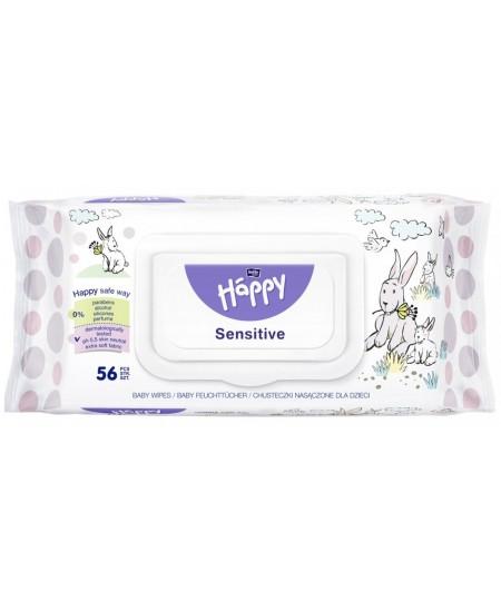 Servetėlės rankoms valyti BELLA HAPPY Sensitive, 56 vnt.