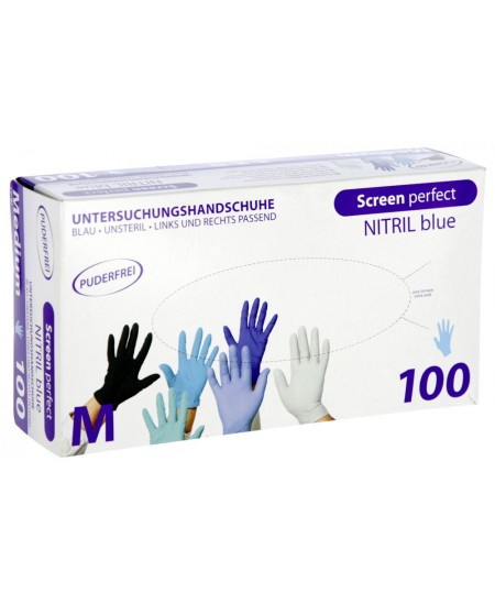 Vienkartinės nitrilinės pirštinės TOP GLOVE, M dydis, mėlynos, 100 vnt.
