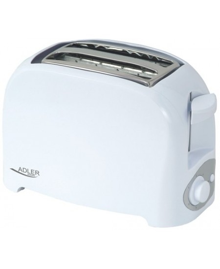 Toaster Adler AD 3201 White, Plastic, 750 W, Number of slots 2, Number of power levels 7,