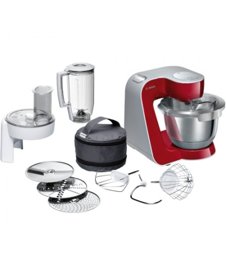 Bosch MUM58720 Grey, Red, Stainless, 1000 W