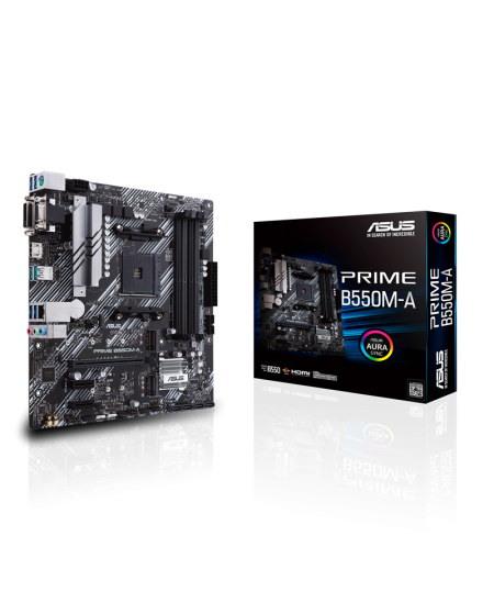 Asus PRIME B550M-A Processor family AMD, Processor socket AM4, DDR4, Memory slots 4, Supported hard disk drive interfaces M.2, S