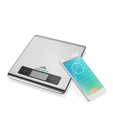 ETA Kitchen scales with smart application  Nutri Vital Maximum weight (capacity) 5 kg, Graduation 1 g, Display type LCD, Silver