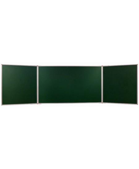 Kreidinė magnetinė trijų dalių lenta 2X3, 120x90/240 cm, aliuminio rėmas, žalia