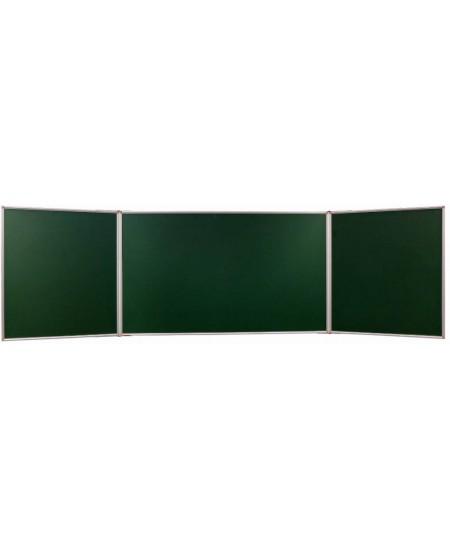 Kreidinė magnetinė trijų dalių lenta 2X3, 300x150/1000 cm, aliuminio rėmas, žalia