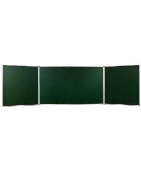Kreidinė magnetinė trijų dalių lenta 2X3, 400x200/100 cm, linijomis ir langeliais, aliuminio rėmas, žalia