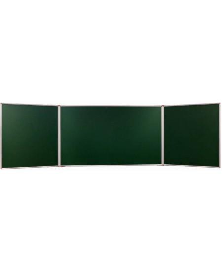 Kreidinė magnetinė trijų dalių lenta 2X3, 400x200/100 cm, aliuminio rėmas, žalia