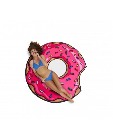 Paplūdimio kilimėlis-rankšluostis BIGMOUTH Rožinė spurga, 150x150 cm