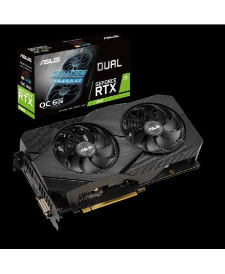 Asus DUAL-RTX2060-O6G-EVO NVIDIA, 6 GB, GeForce RTX 2060, GDDR6, PCI Express 3.0, Processor frequency 1695  MHz, DVI-D ports qua