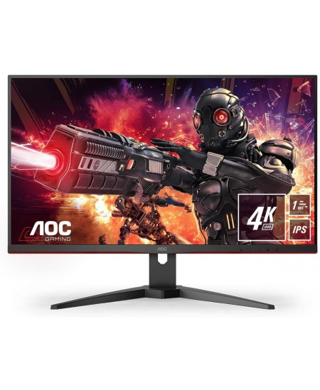 "AOC Gaming Monitor U28G2AE/BK 28 "", IPS, UHD, 3840 x 2160, 16:9, 1 ms, 300 cd/m², Black/Red, HDMI ports quantity 2"