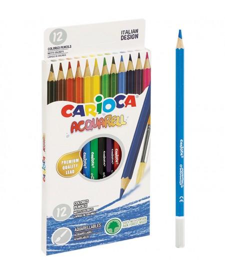 Akvareliniai spalvoti pieštukai CARIOCA Acquarell, 12 spalvų