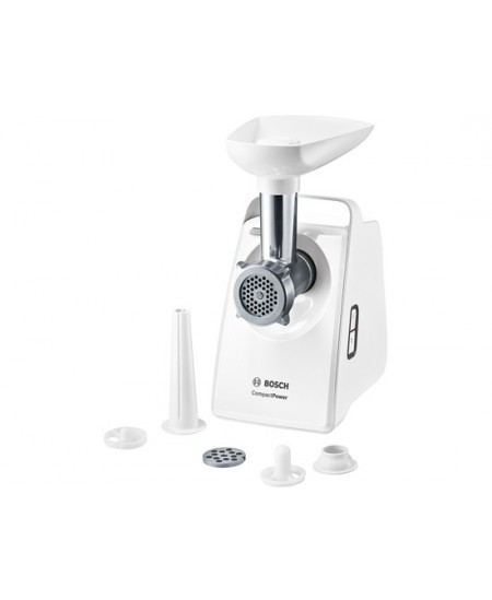 Bosch Meat mincer MFW3520W White, 500 W, Number of speeds 5, Throughput (kg/min) 1.9,  1 x sausage stopper attachment, 1 x perfo