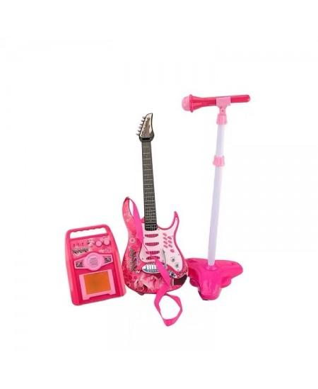 Elektrinė gitara su mikrofonu, rožinė